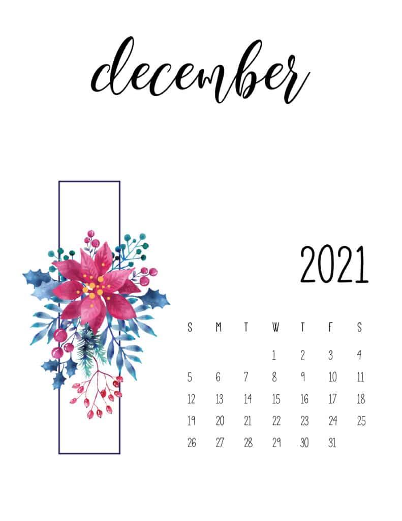 December 2021 Floral Calendar Free