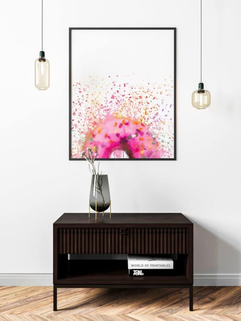 Pink Donut Abstract Splatter Printable Wall Art