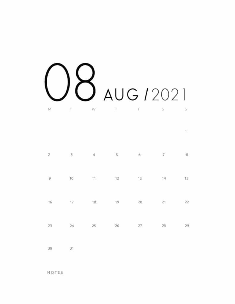Elegant August 2021 Calendar