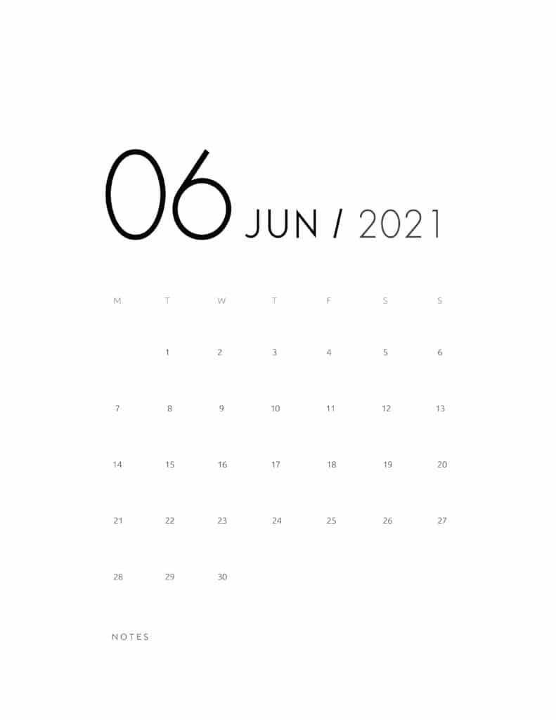 Elegant June 2021 Calendar