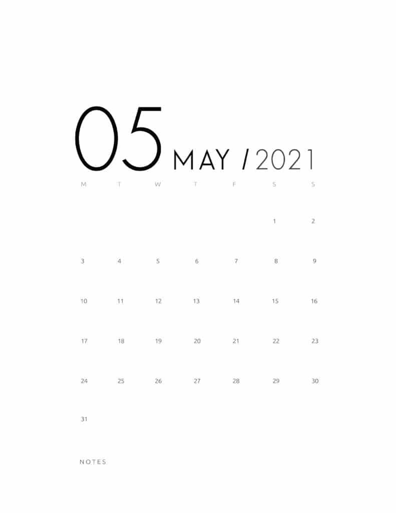 Elegant May 2021 Calendar