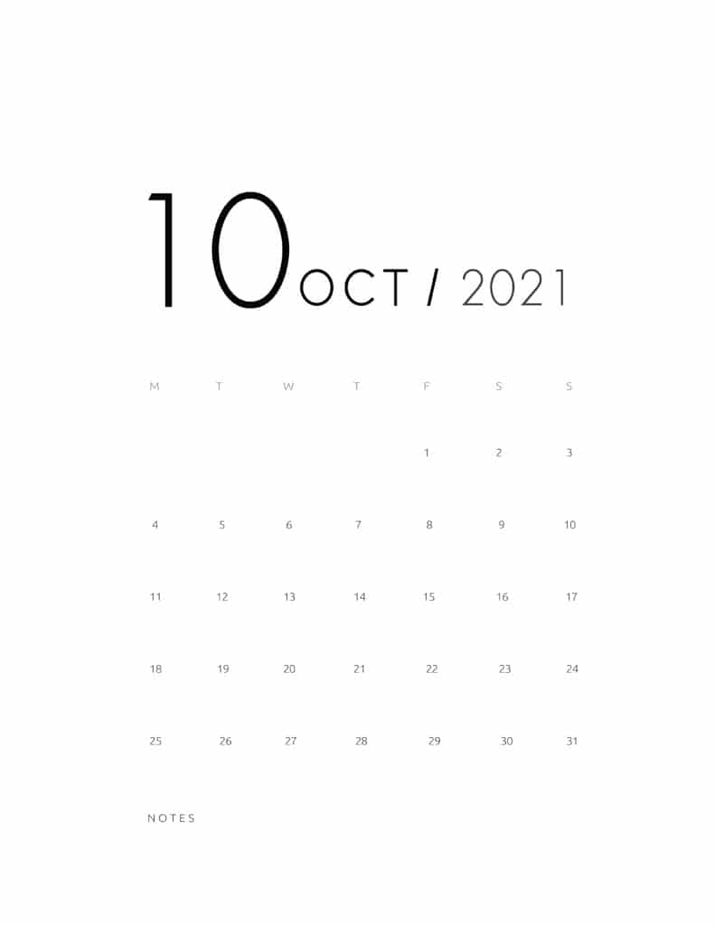Elegant October 2021 Calendar