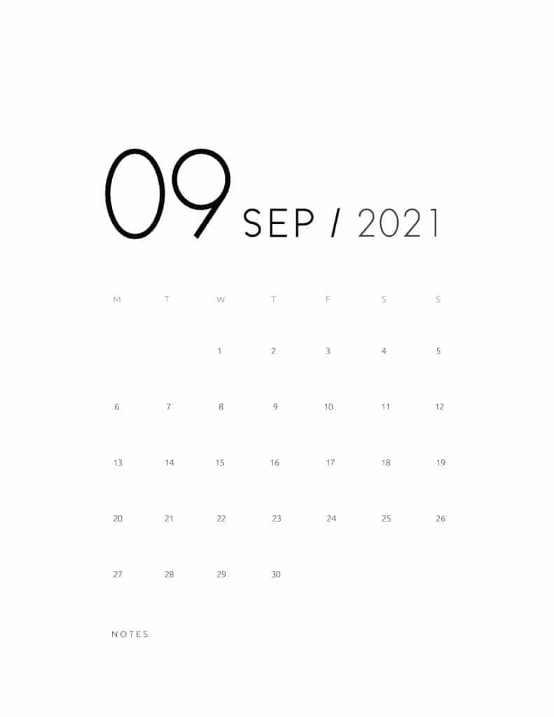 Elegant September 2021 Calendar