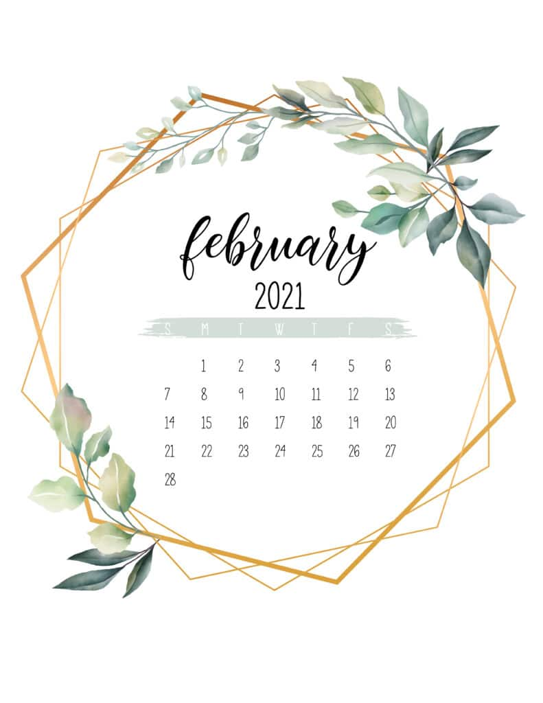 February 2021 Calendar Botanical Free Printable