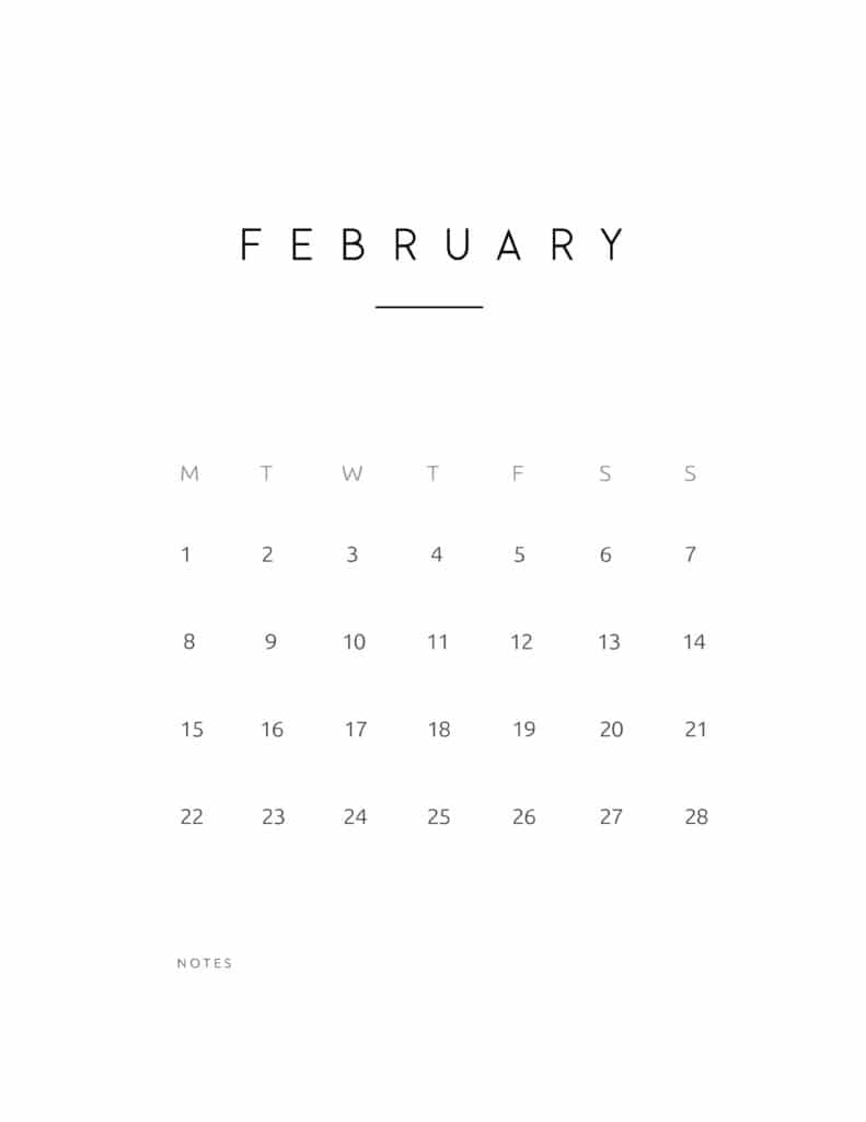 February 2021 Calendar Contemporary Style