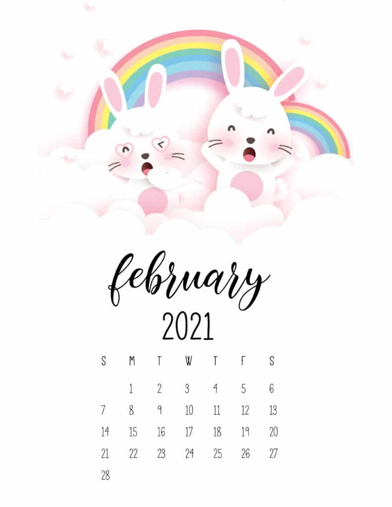 February 2021 Calendar Cute Rabbits And Rainbows
