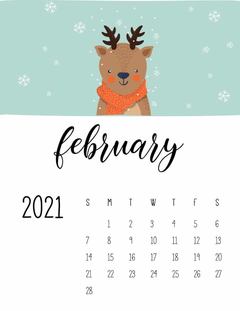 February 2021 Calendar Cute Winter Animals