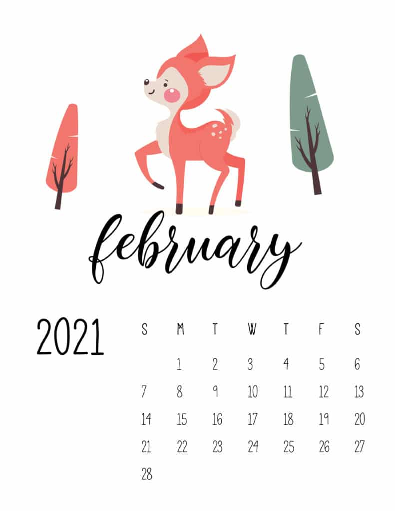 February 2021 Calendar Forest Woodland Animals