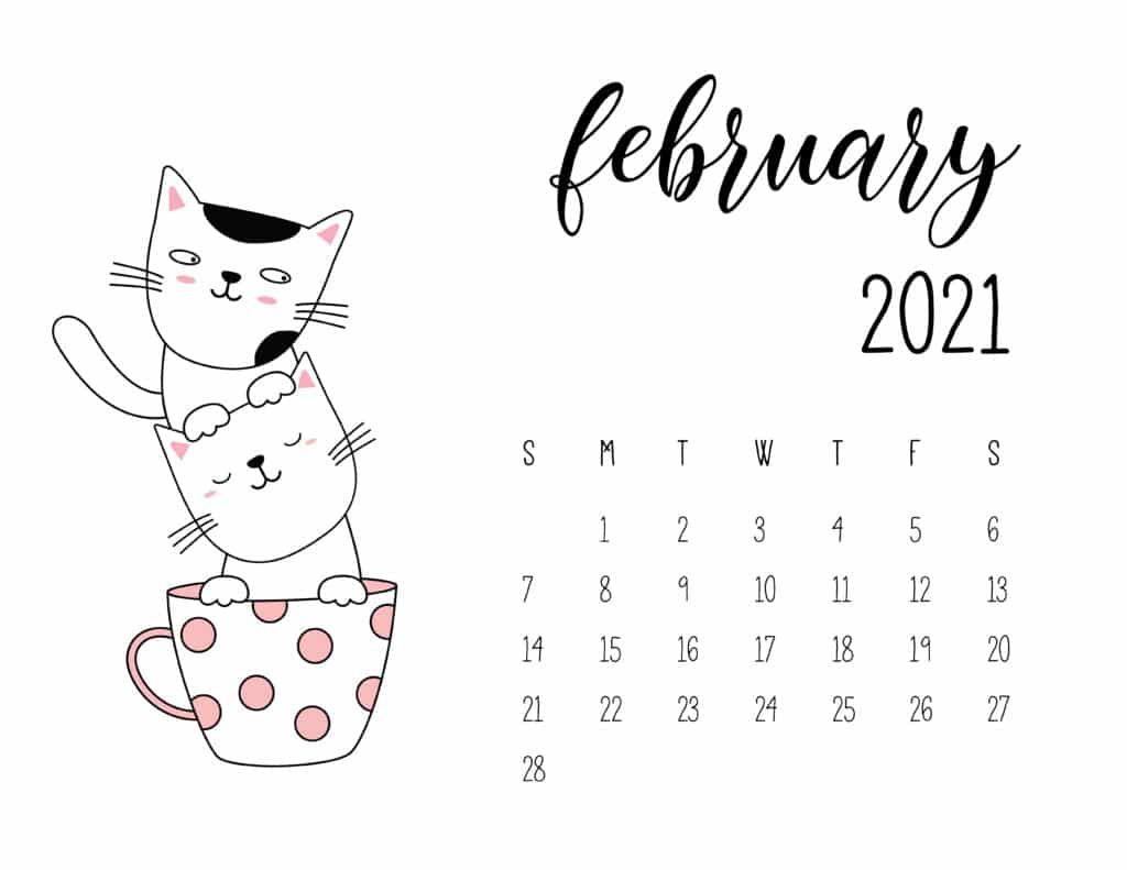February 2021 Calendar Kittens in Tea Cups