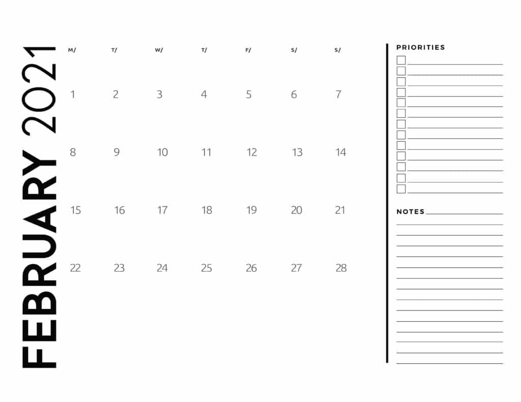 February 2021 Calendar Priorities And Notes
