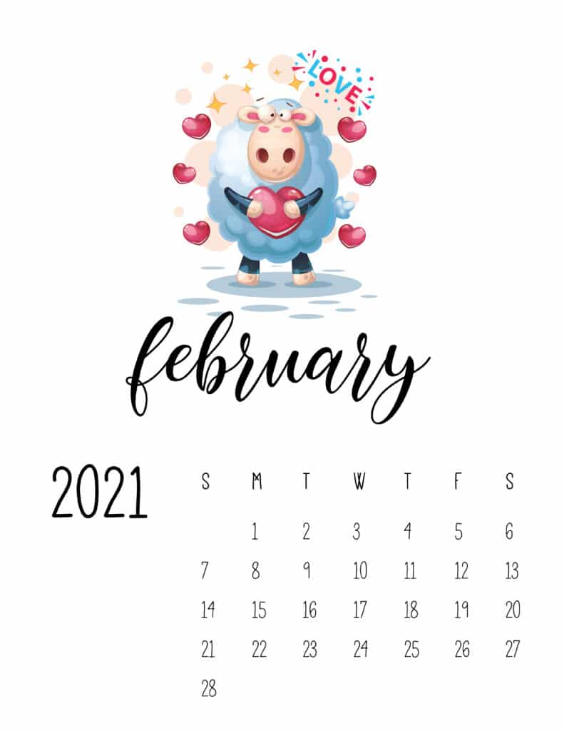 February 2021 Calendar with Cute Happy Animals
