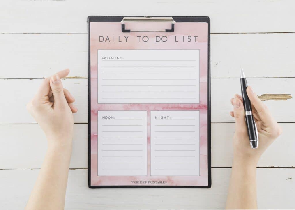 Feminine Daily To Do List