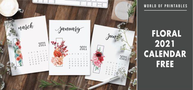 Floral 2021 calendar free