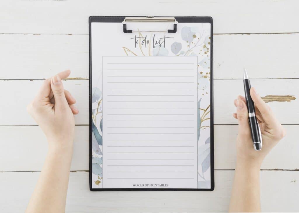 Floral Frame To Do List printable
