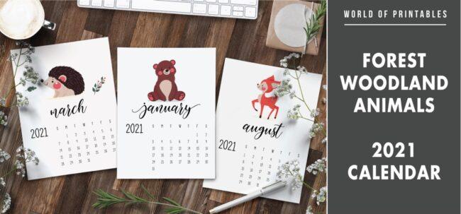 Forest Woodland animals 2021 Calendar