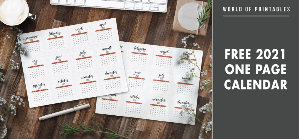Free 2021 One Page Calendar