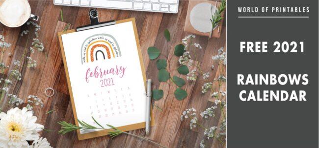 Free 2021 Rainbows Calendar