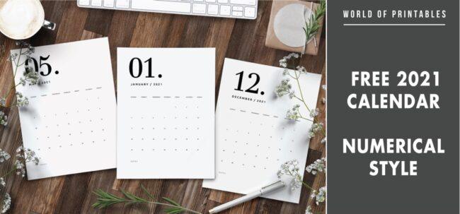 Free 2021 calendar numerical