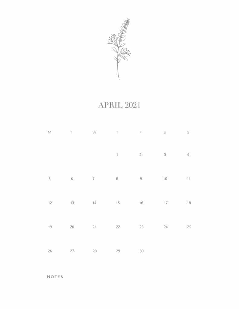 Free Floral Calendar April 2021
