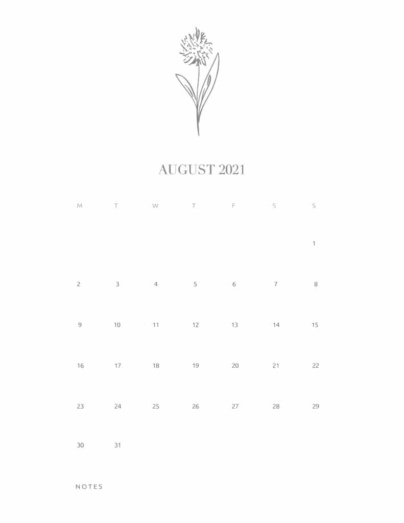 Free Floral Calendar August 2021