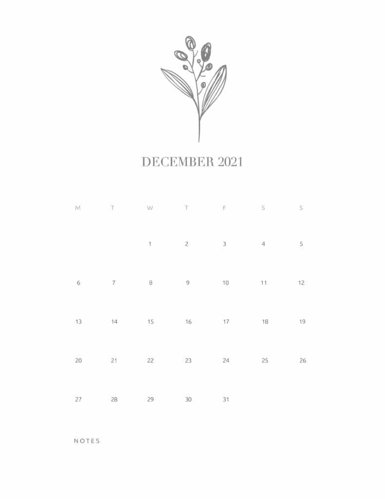 Free Floral Calendar December 2021