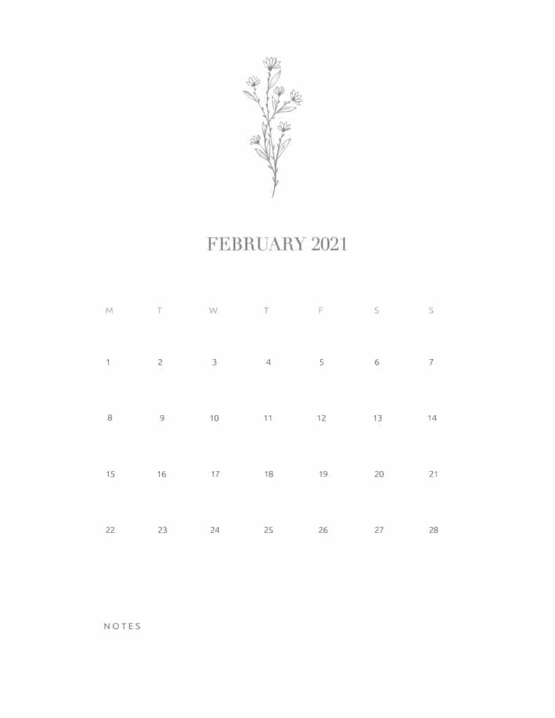 Free Floral Calendar February 2021