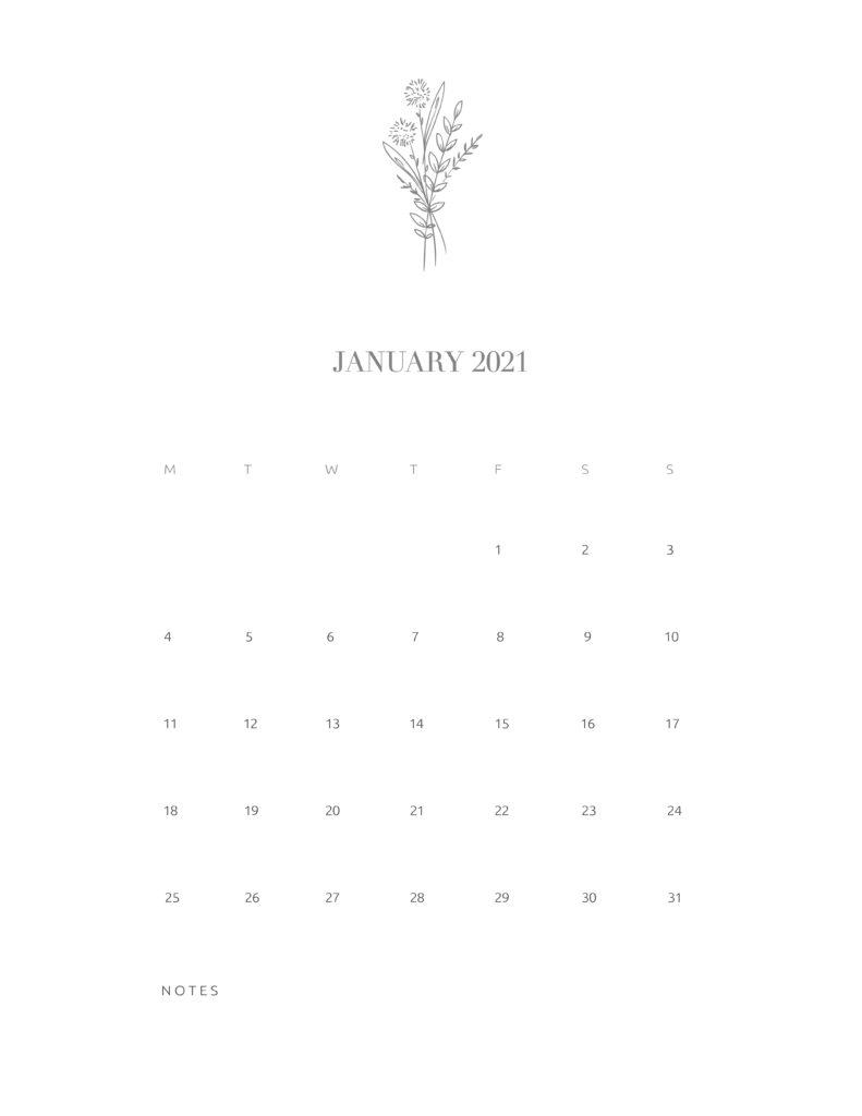 Free Floral Calendar January 2021