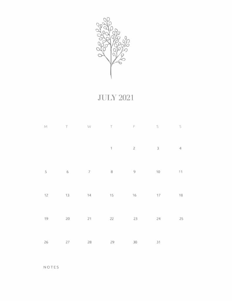 Free Floral Calendar July 2021