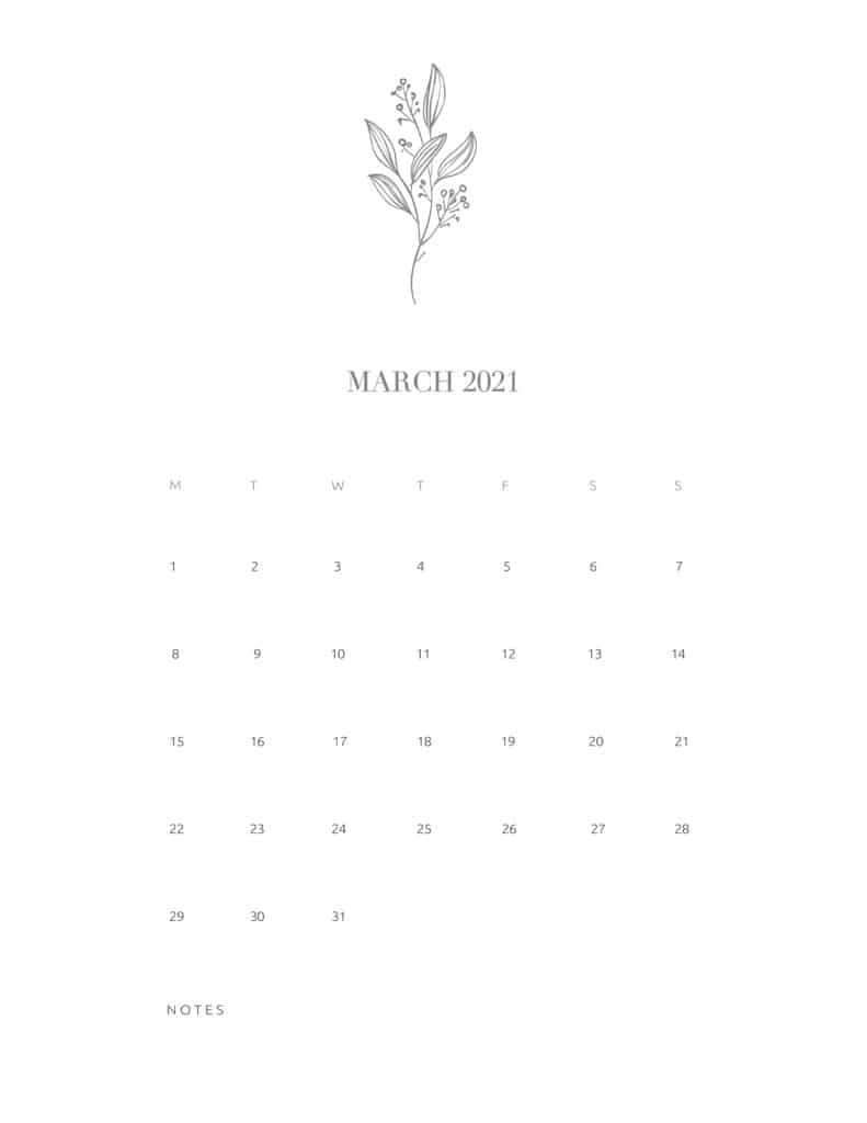 Free Floral Calendar March 2021