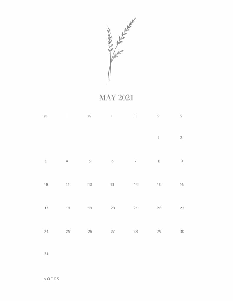 Free Floral Calendar May 2021