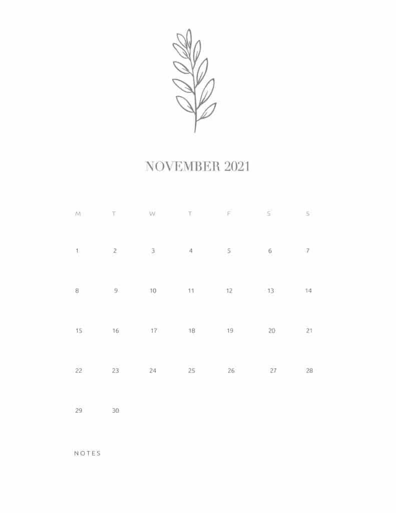 Free Floral Calendar November 2021