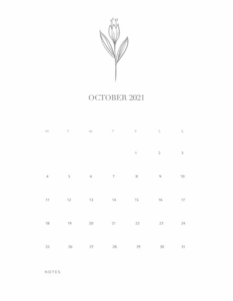 Free Floral Calendar October 2021