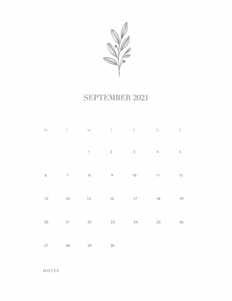 Free Floral Calendar September 2021