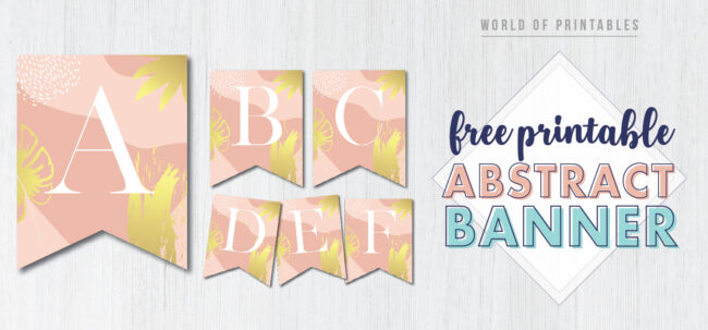 Free Printable Abstract Banner Template for Birthday Party, Bridal Shower or Baby Shower