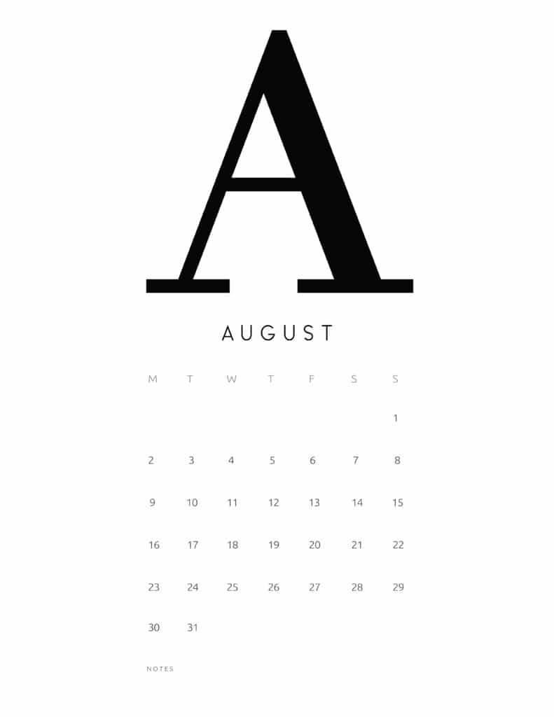 Free Printable Alphabetical August 2021 Calendar