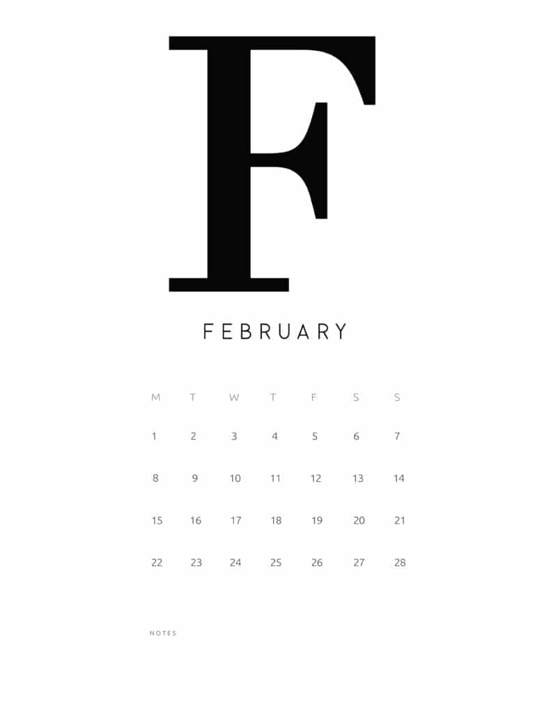 Free Printable Alphabetical February 2021 Calendar