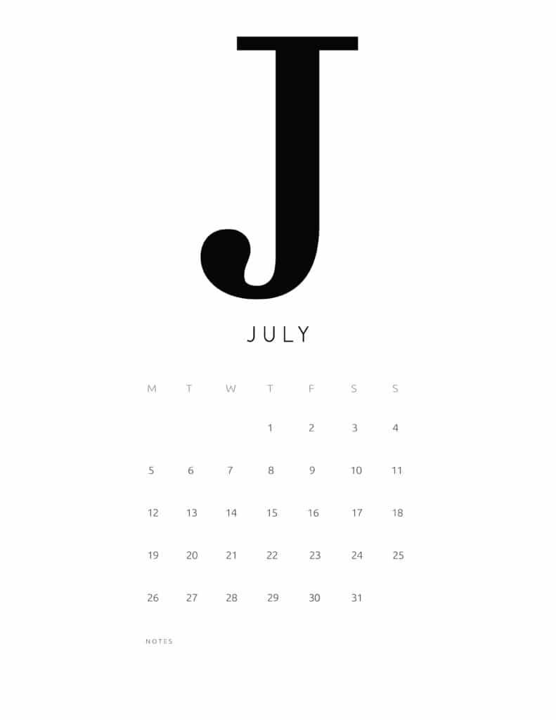 Free Printable Alphabetical July 2021 Calendar