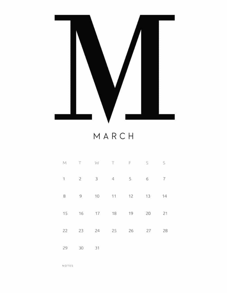 Free Printable Alphabetical March 2021 Calendar