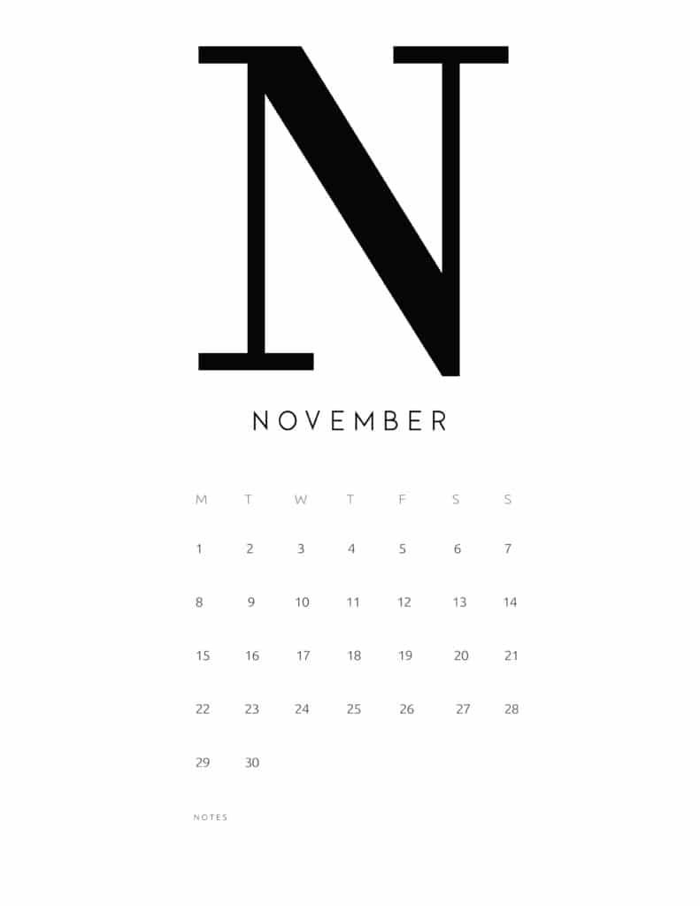 Free Printable Alphabetical November 2021 Calendar