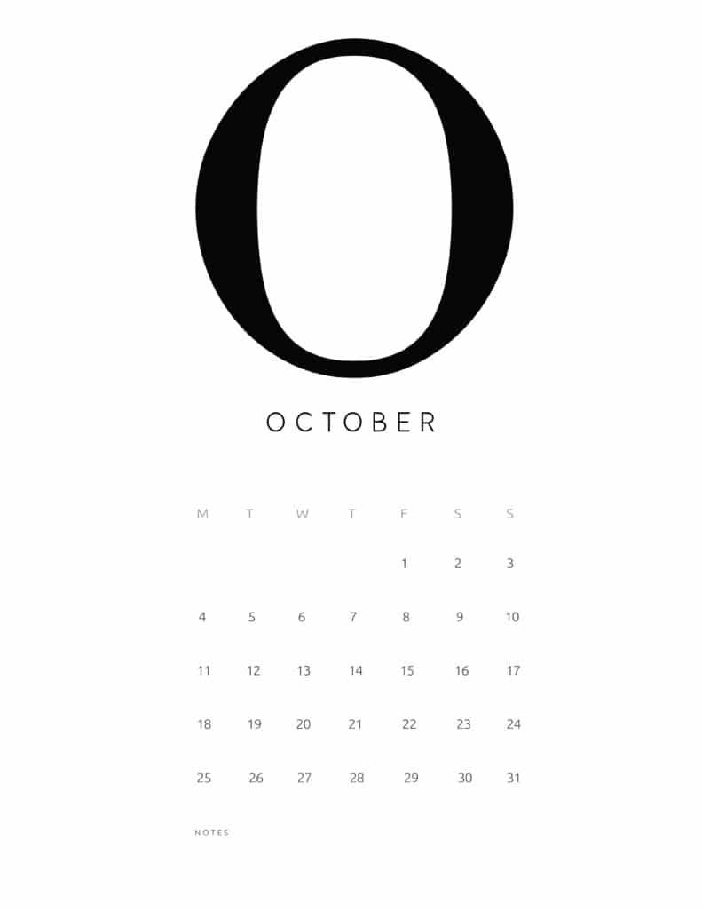 Free Printable Alphabetical October 2021 Calendar
