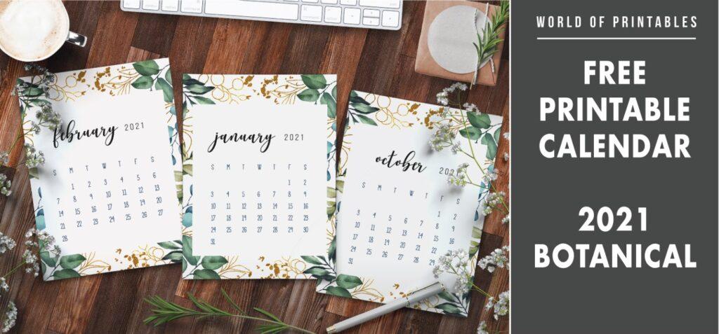 Free Printable Calendar 2021 Botanical