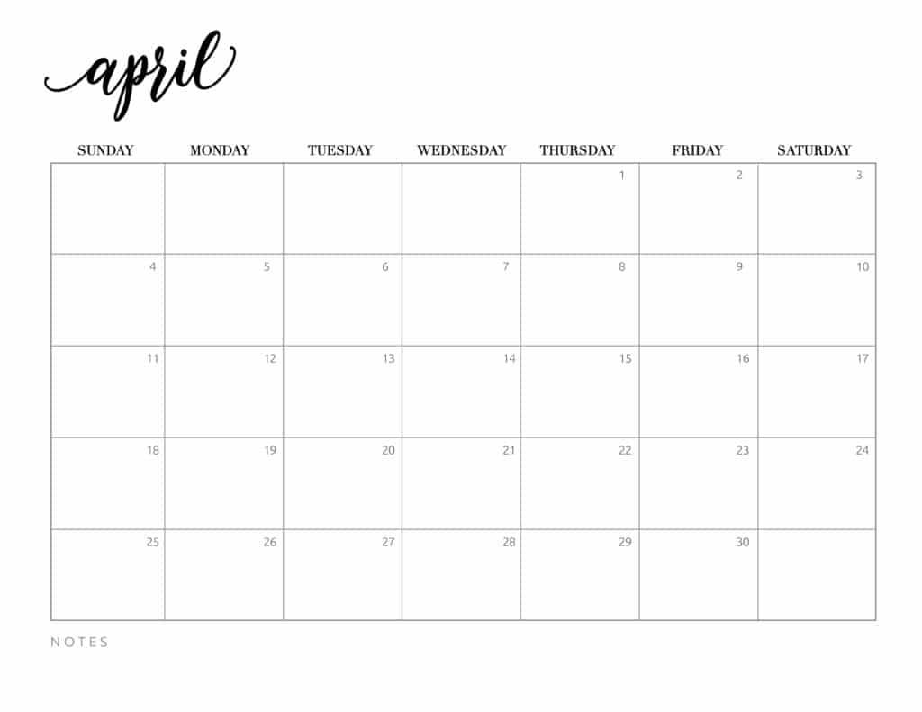 Free Printable Calendar April 2021