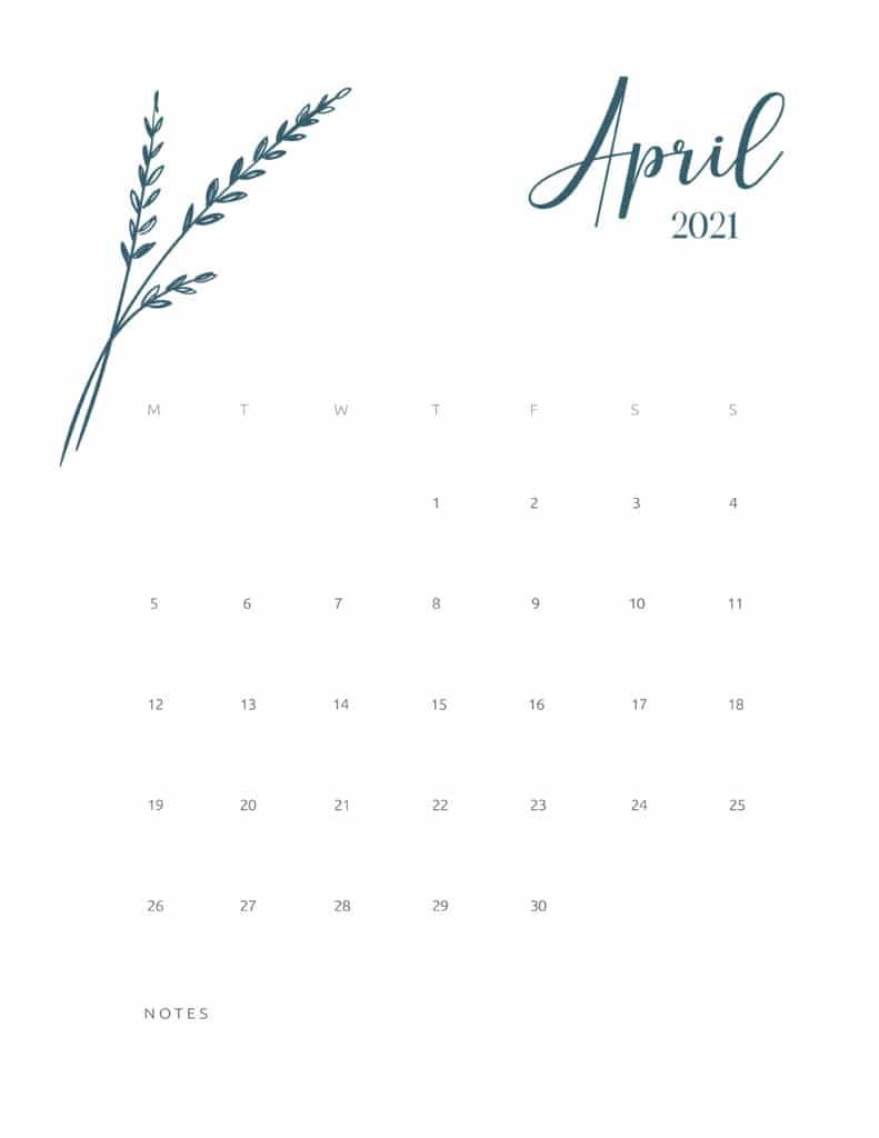 Free Printable Calendar April 2021 Floral
