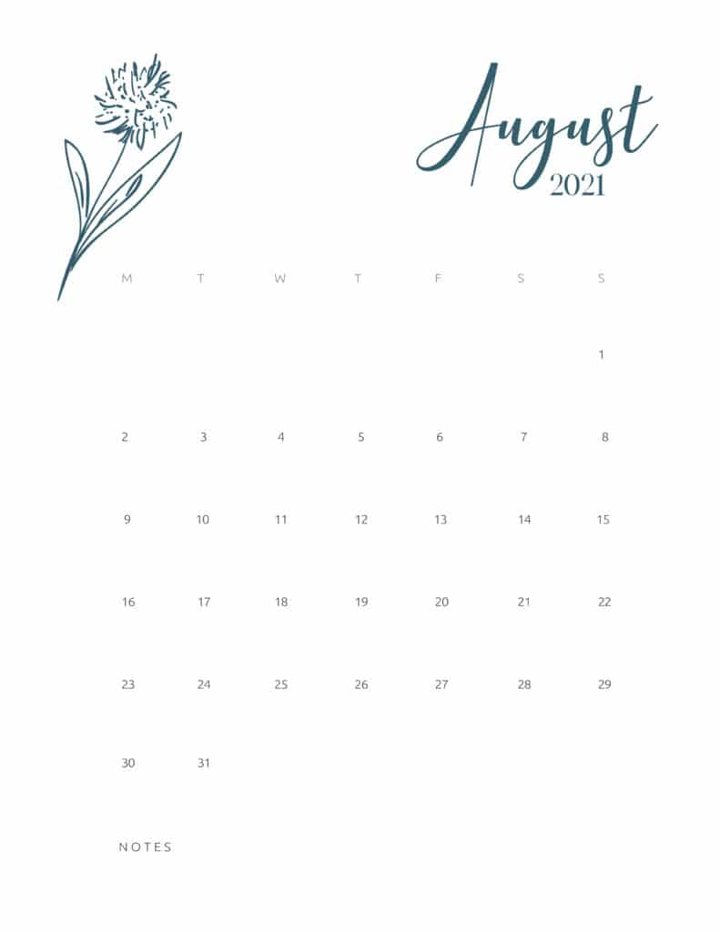 Free Printable Calendar August 2021 Floral