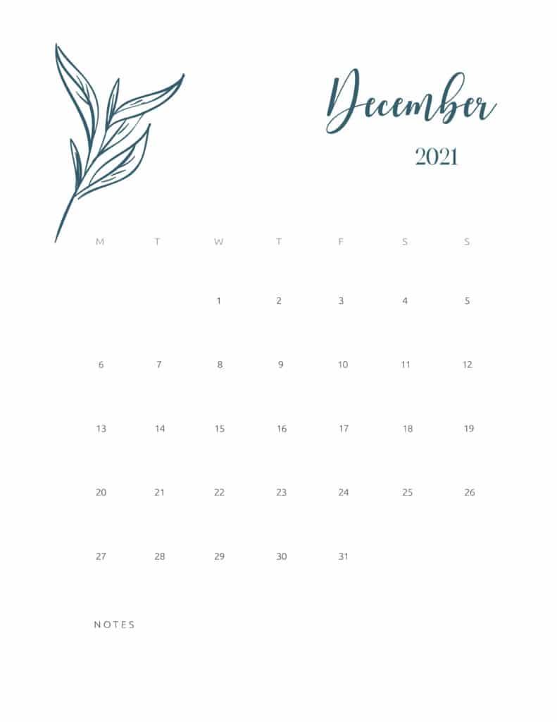 Free Printable Calendar December 2021 Floral