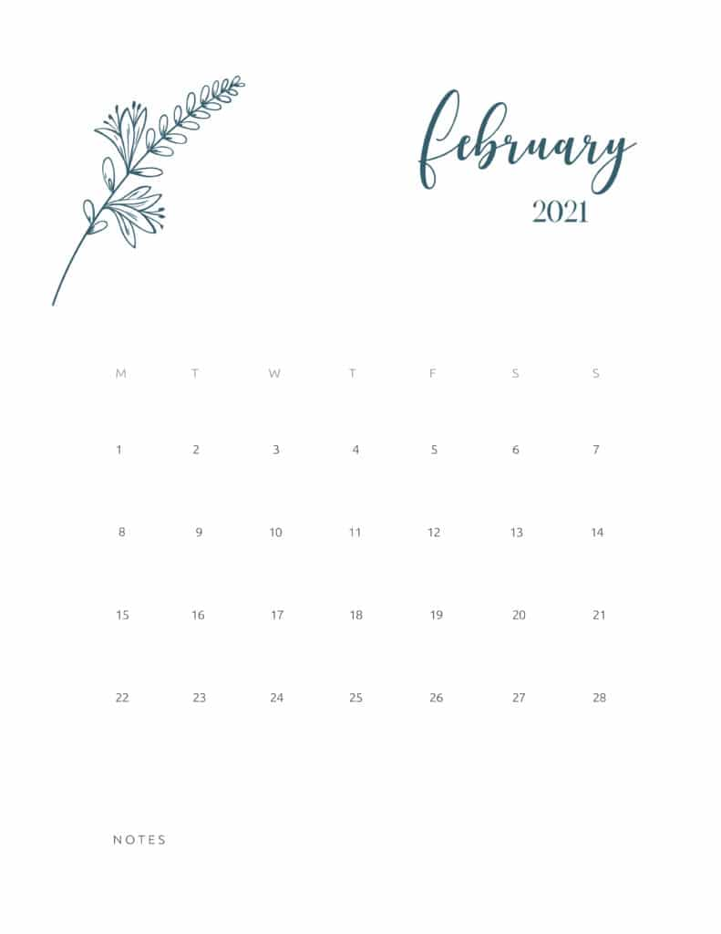 Free Printable Calendar February 2021 Floral