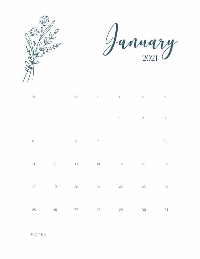 Free Printable Calendar January 2021 Floral
