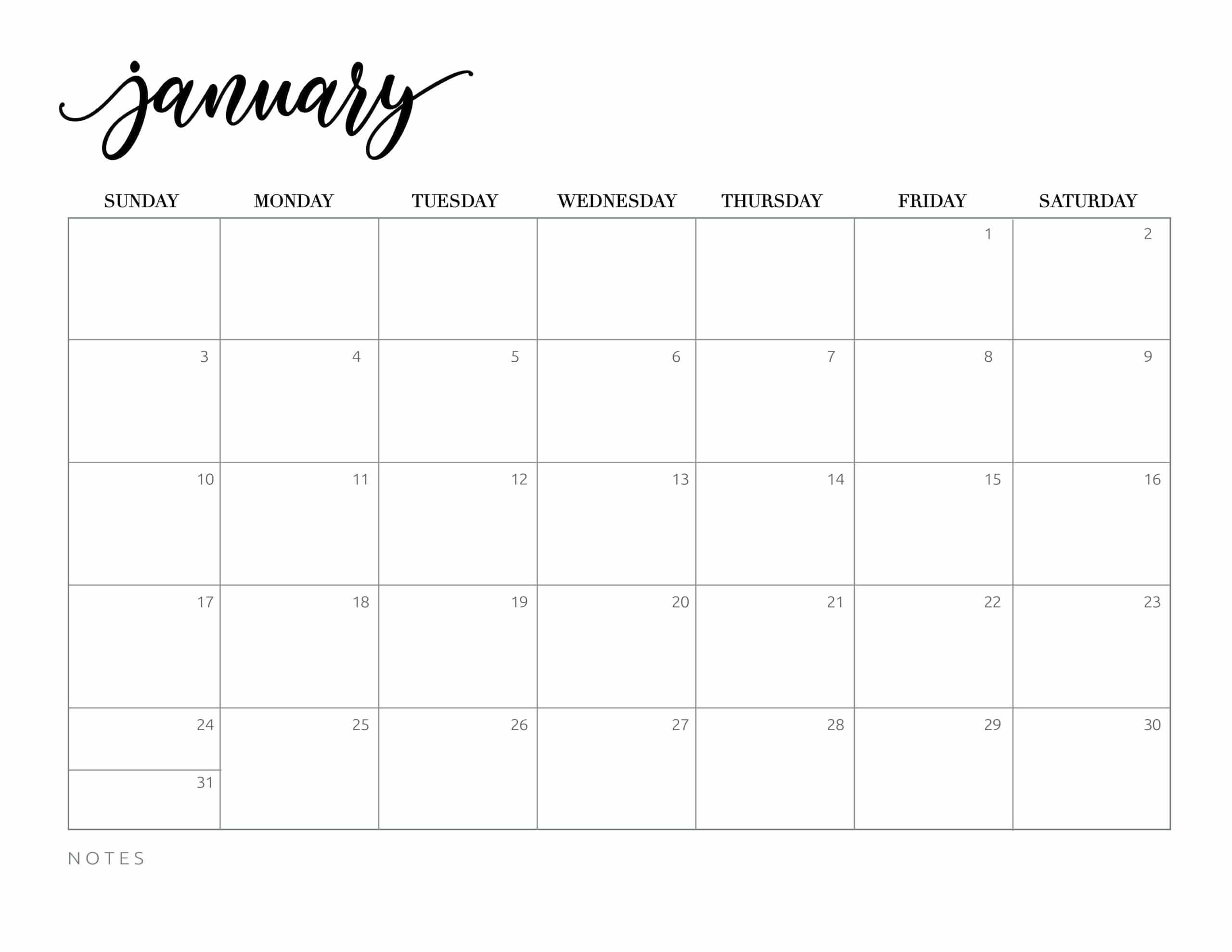 Free Printable 2021 Calendar - World of Printables