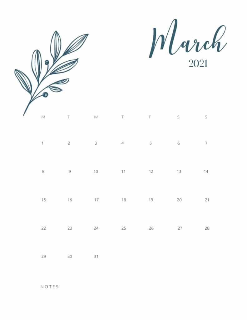Free Printable Calendar March 2021 Floral