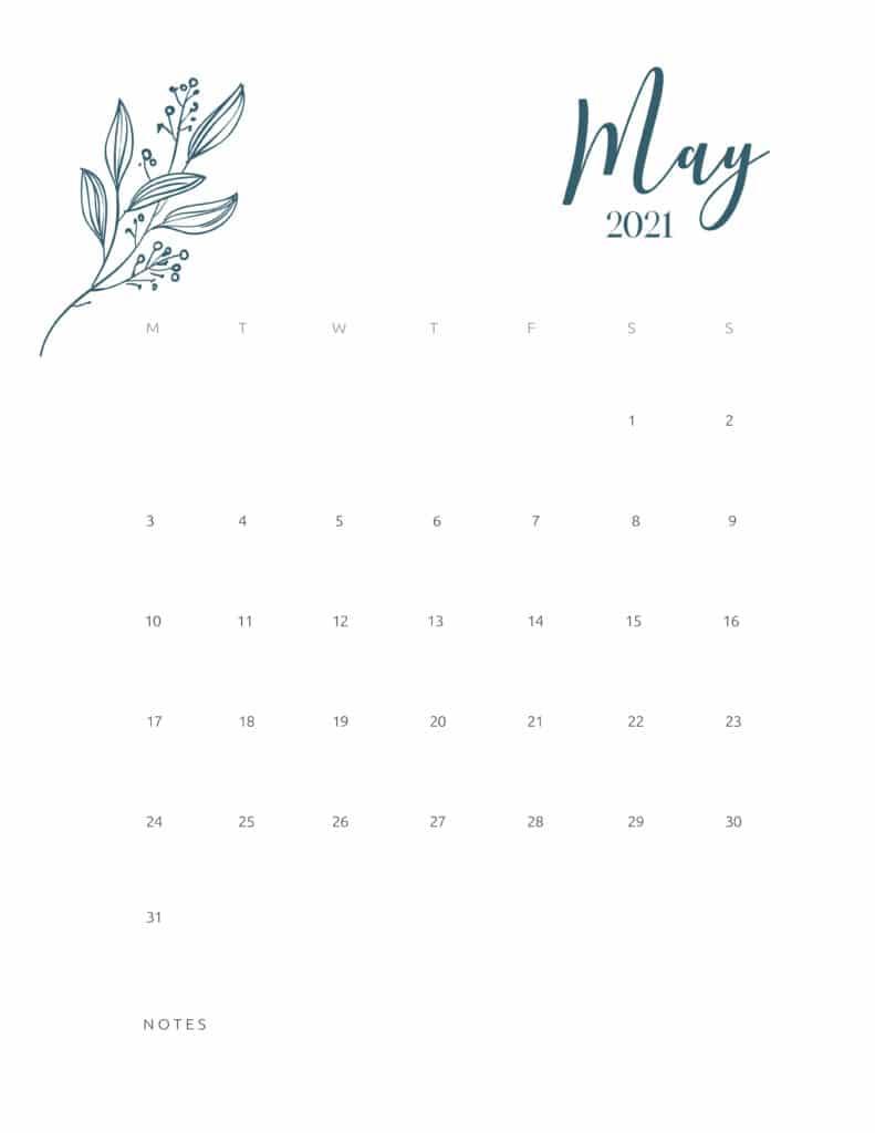 Free Printable Calendar May 2021 Floral